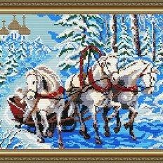 Набор в технике алмазная вышивка Тройка лошадей