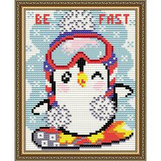 фото: картина в алмазной технике Пингвинёнок