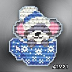 Набор в технике алмазная вышивка Магнит Мышонок в чашке синей