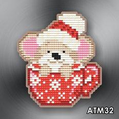 фото: магнит в алмазной технике Мышонок в чашке красной