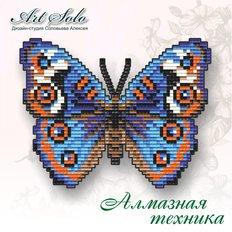 бабочка в алмазной технике, анютины глазки