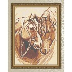 фото: картина для вышивки бисером: пара лошадей