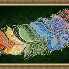 фото: картина для вышивки бисером: перо Жар-птицы