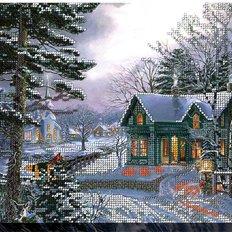 фото: картина, вышитая бисером, Морозная ночь