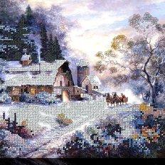 фото: картина, вышитая бисером, Зимние будни