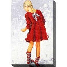 фото: картина, вышитая бисером, Полосатые носки