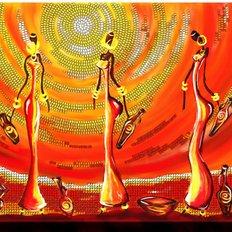 фото: картина для вышивки бисером Африканки с амфорами