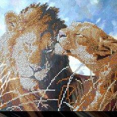 фото: картина для вышивки бисером Дикие кошки