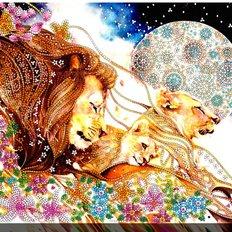 фото: картина для вышивки бисером Львиное семейство