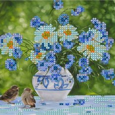 фото: картина для вышивки бисером Воробьи