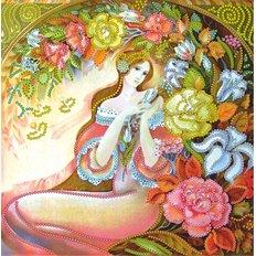 фото: картина для вышивки бисером Девушка в цветах