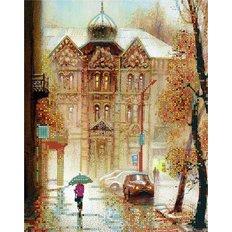 фото: картина для вышивки бисером Дождь в городе