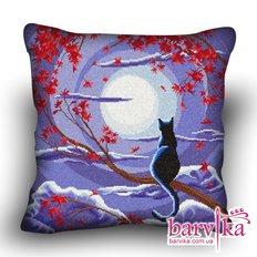 фото: подушка, вышитая крестиком, Лунный кот