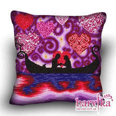 фото: подушка, вышитая крестиком, Романтика