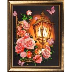 фото: картина, вышитая бисером Розовый фонарь