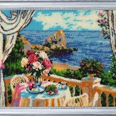 фото: картина для вышивки бисером Завтрак с видом на море