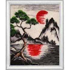 фото: картина, вышитая бисером Красное солнце