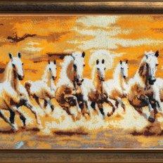 фото: картина, вышитая бисером, Семёрка лошадей
