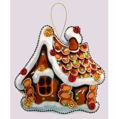 фото: вышитая бисером игрушка, Пряничный домик