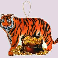 фото: вышитая бисером игрушка, Тигр