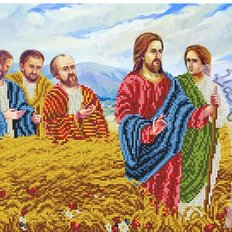 фото: схема для вышивки бисером, Иисус в ржаном поле
