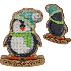 фото: набор для вышивки бисером по дереву, Качалка Пингвин