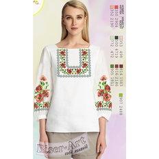 фото: белая блуза (заготовка) с вышивкой маки