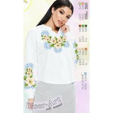 фото: белая блуза (заготовка) с вышивкой белые лилии и голубой орнамент