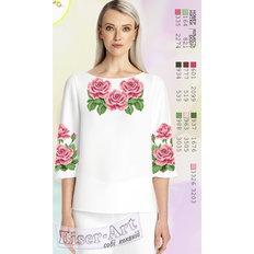 фото: белая блуза (заготовка) с вышивкой розовые розы
