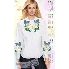 фото: белая блуза (заготовка) с вышивкой белые лилии