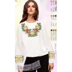 фото: белая блуза (заготовка) с вышивкой белые и розовые цветы