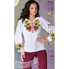 фото: белая блуза (заготовка) с вышивкой маки и подсолнухи