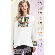 фото: белая блуза (заготовка) с вышивкой радужный цветочный узор