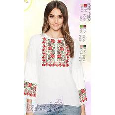 фото: белая блуза (заготовка) с вышивкой цветной узор и розы