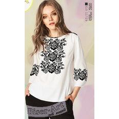 фото: белая блуза (заготовка) с вышивкой розы на черном узоре