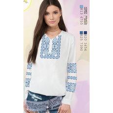 фото: белая блуза (заготовка) с вышивкой орнамент в голубых тонах