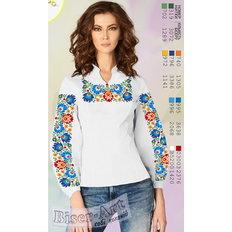 фото: белая блуза (заготовка) с вышивкой голубые и оранжевые цветы