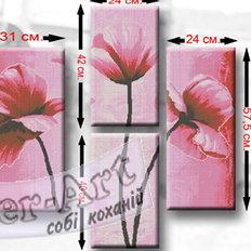 фото: схема модульной картины для вышивки бисером или нитками, Маки
