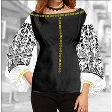 фото: блуза Бохо (заготовка) с вышивкой чёрный узор и пара птиц