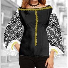 фото: блуза Бохо (заготовка) с вышивкой чёрный цветочный узор