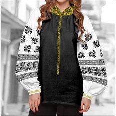фото: блуза Бохо (заготовка) с вышивкой чёрный узор и геометрический орнамент