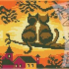 фото: схема для вышивки бисером или крестиком, Пара кошек