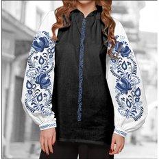 фото: блуза Бохо (заготовка) с вышивкой голубой цветочный узор