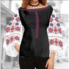 фото: блуза Бохо (заготовка) с вышивкой геометрический узор со стилизованными цветами