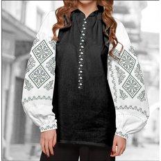 фото: блуза Бохо (заготовка) с вышивкой геометрический узор в серых тонах