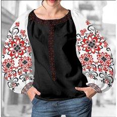 фото: блуза Бохо (заготовка) с вышивкой красно-чёрный узор со стилизованными цветами