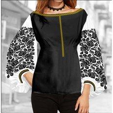 фото: блуза Бохо (заготовка) с вышивкой розы на чёрном узоре