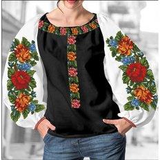 фото: блуза Бохо (заготовка) с вышивкой пышные пионы и розы