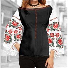 фото: блуза Бохо (заготовка) с вышивкой красные розы