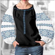 фото: блуза Бохо (заготовка) с вышивкой голубой узор